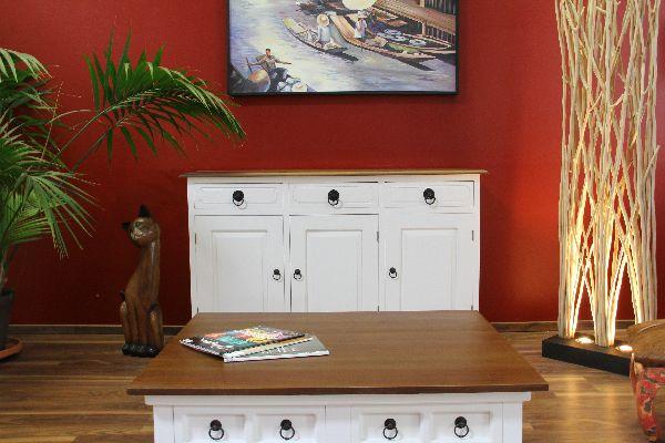 schrank sideboard anrichte buffet holz massiv wei braun. Black Bedroom Furniture Sets. Home Design Ideas