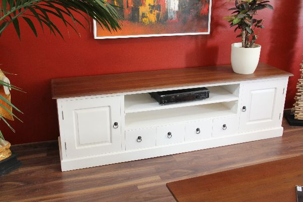 sideboard tv hifi unterschrank 200cm lowboard holz massiv wei braun landhaus ebay. Black Bedroom Furniture Sets. Home Design Ideas