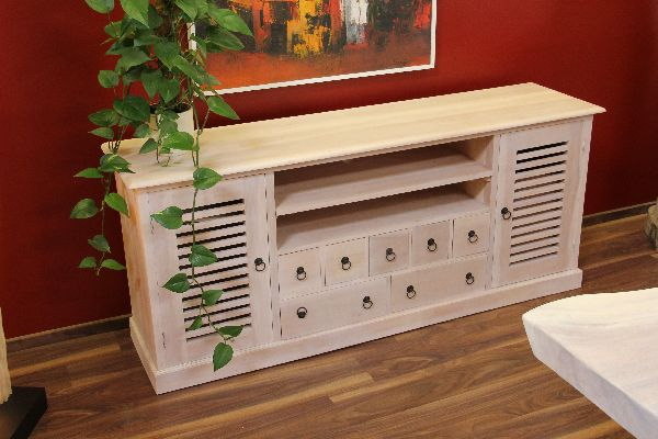 sideboard tv hifi schrank fernsehschrank holz massiv wei beige natur landhaus ebay. Black Bedroom Furniture Sets. Home Design Ideas