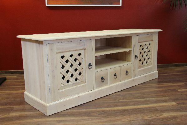 sideboard tv hifi schrank massiv holz wei gek lkt landhaus. Black Bedroom Furniture Sets. Home Design Ideas