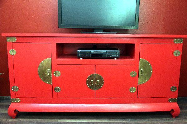 sideboard schrank tv hifi 184x91x52 rot kolonial holz massiv fernsehschrank neu ebay. Black Bedroom Furniture Sets. Home Design Ideas