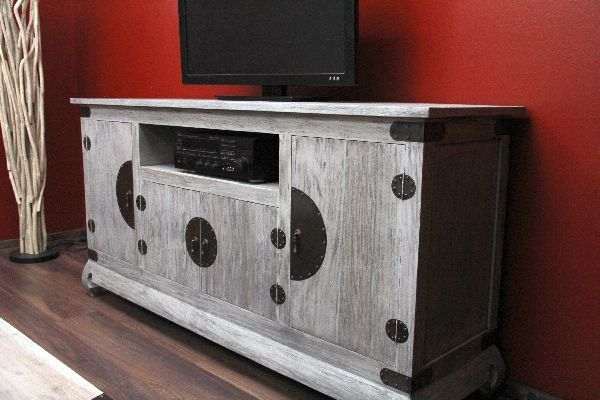 sideboard tv hifi kolonial 184x91x52 holz antik grau massiv schrank regal rack ebay. Black Bedroom Furniture Sets. Home Design Ideas