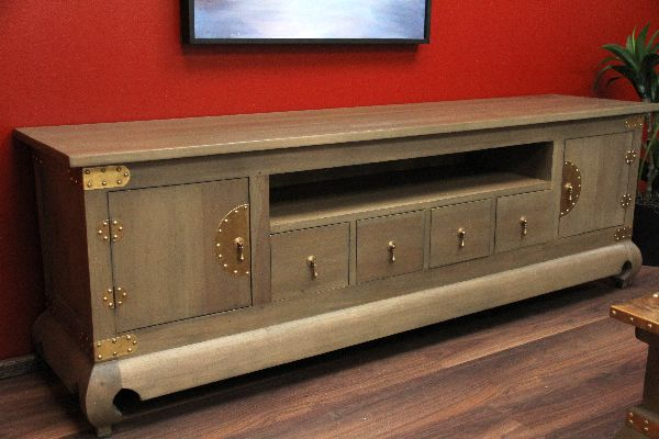 sideboard tv hifi holz 192x64x44 schilf gr n oliv mint antik schrank regal rack ebay. Black Bedroom Furniture Sets. Home Design Ideas