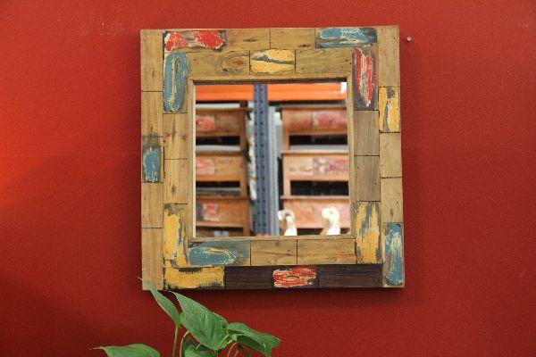 Wandspiegel, Spiegel, Holzspiegel, Designer, Massiv, Holz, Teak, Glas