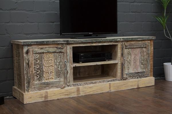 sideboard tv massivholz wei 166x61x40 lowboard schrank. Black Bedroom Furniture Sets. Home Design Ideas