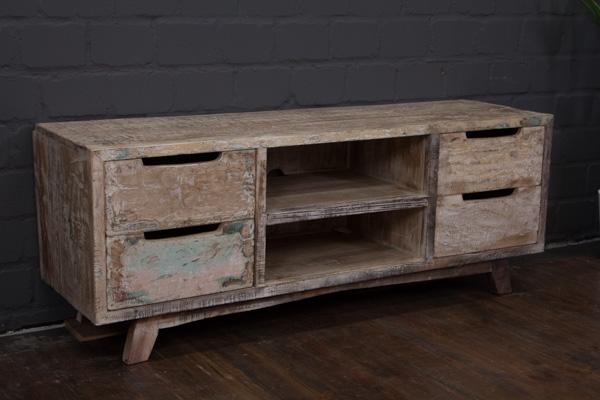 sideboard tv massivholz wei 140x54x41 lowboard schrank. Black Bedroom Furniture Sets. Home Design Ideas