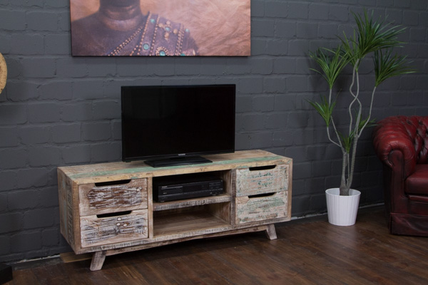 sideboard tv massivholz wei 140x54x41 lowboard schrank hifi vintage landhaus ebay. Black Bedroom Furniture Sets. Home Design Ideas