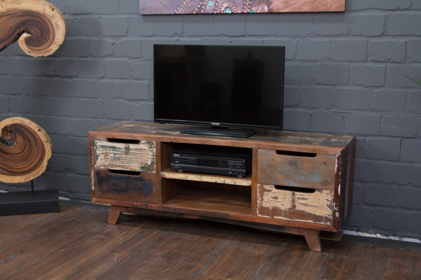 designer tv lowboard aus massivholz im vintage stil. Black Bedroom Furniture Sets. Home Design Ideas