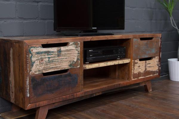 designer tv lowboard aus massivholz im vintage stil. Black Bedroom Furniture Sets. Home Design Ideas