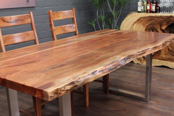 Suar Massivholz Esstisch mit Baumkanten und Edelstahlbeinen Nr15870