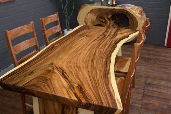 esstisch holz massiv baumscheibe 200x108x77 natur tisch suar beine tischplatte ebay. Black Bedroom Furniture Sets. Home Design Ideas