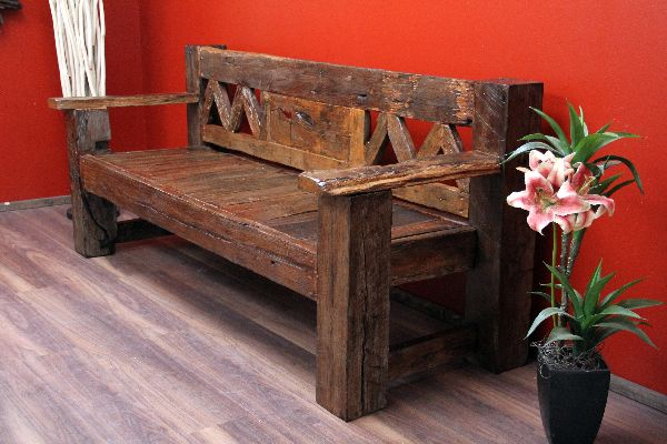 sitzbank bank holz teak massiv alt antik bootsholz. Black Bedroom Furniture Sets. Home Design Ideas