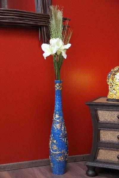 Vase Holz Deko Asiatisch Orientalisch Verziert Gold Blau