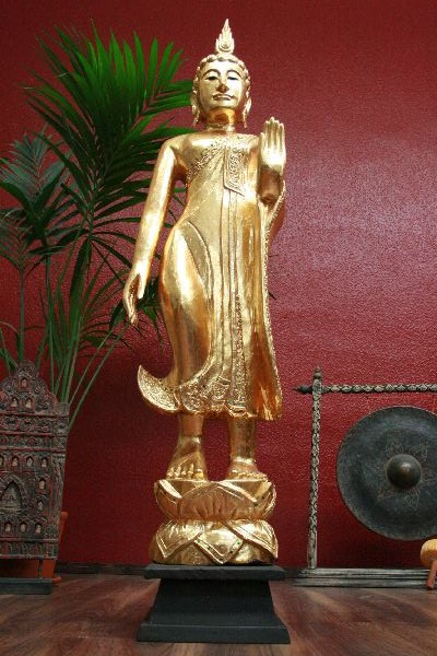 buddha statue figur skulptur holz 155cm gold blattgold stehend. Black Bedroom Furniture Sets. Home Design Ideas