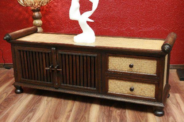 Sideboard tv hifi massiv holz rattan schrank for Sideboard asiatischer stil