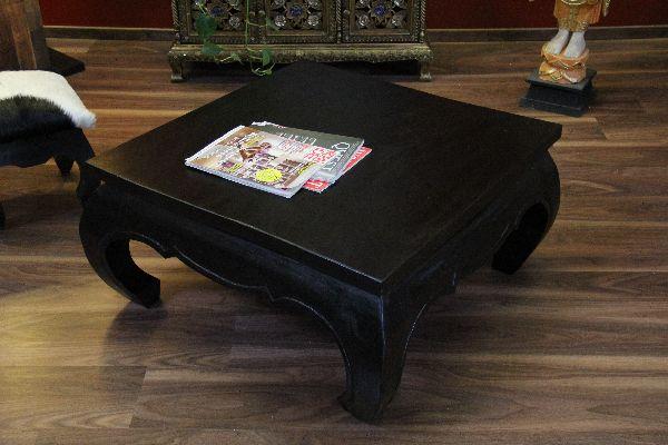 Opiumtisch Couchtisch Holz Massiv Quadratisch Schwarz 75x75x41