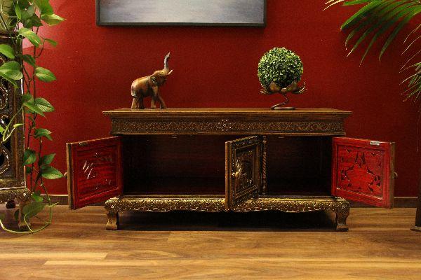 sideboard schrank holz elefanten lotus schnitzereien blau gold. Black Bedroom Furniture Sets. Home Design Ideas