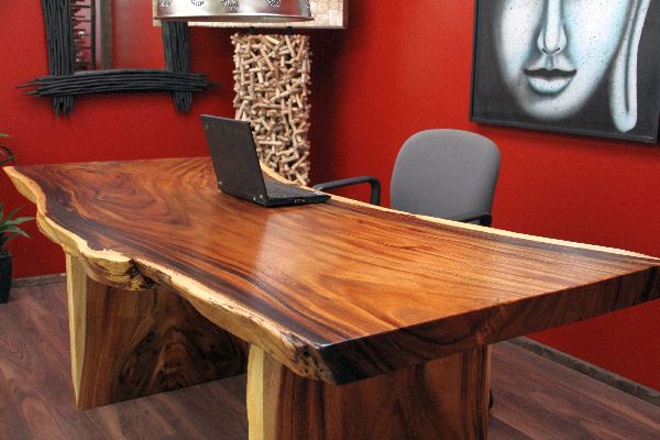 Tischplatte holz natur  Schreibtisch, Suar, Holz, Massiv, Tisch, Tischplatte, Natur, 200x93x79