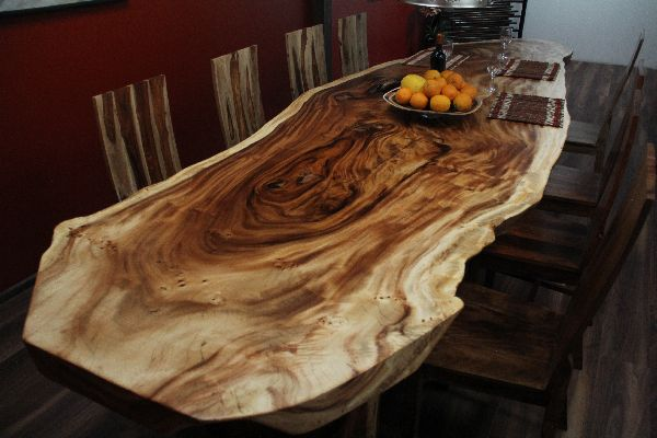 baumscheiben esstisch als suar massivholz natur. Black Bedroom Furniture Sets. Home Design Ideas