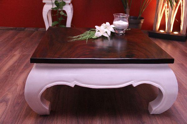opiumtisch couchtisch holz braun wei quadratisch. Black Bedroom Furniture Sets. Home Design Ideas