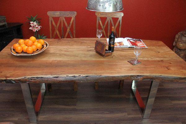 esstisch suar massiv holz tisch beine stahl poliert 214x101x77. Black Bedroom Furniture Sets. Home Design Ideas