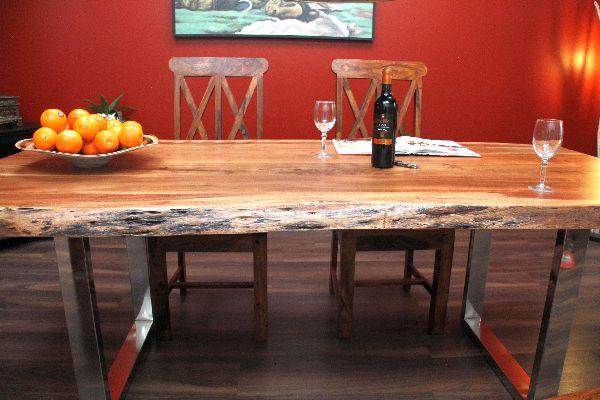Esstisch Suar Massiv Holz Tisch Beine Stahl Poliert 214x103x77