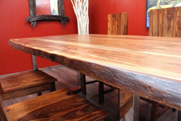 esstisch suar massiv holz tisch beine stahl poliert 213x103x77. Black Bedroom Furniture Sets. Home Design Ideas