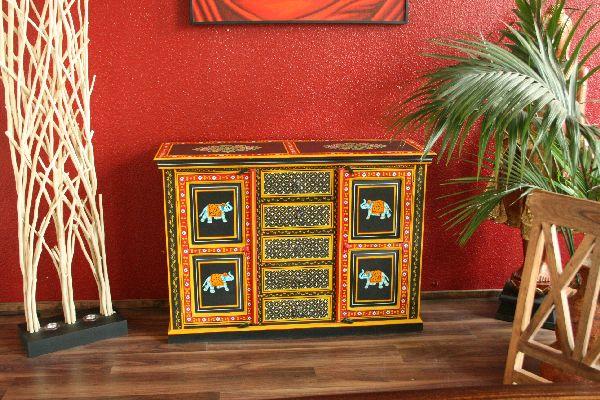 Kommode Schrank Handbemalt Indien 135x95x45 Recycelt Holz