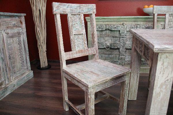 Stuhl Lehnstuhl Holz Massiv Weiß Beige Pastell Landhaus Gekälkt