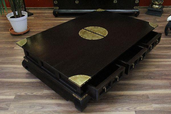 Couchtisch antik schwarz  Couchtisch, Kolonialstil, Massivholz, Schwarz, Schubladen, 151x101x40