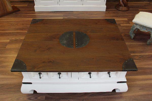 Couchtisch Wohnzimmertisch 100x80x41 Holz Weiss Braun Kolonial