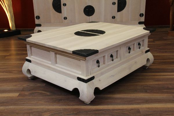 couchtisch holz massiv 101x81x41 wei beige gek lkt schubladen. Black Bedroom Furniture Sets. Home Design Ideas