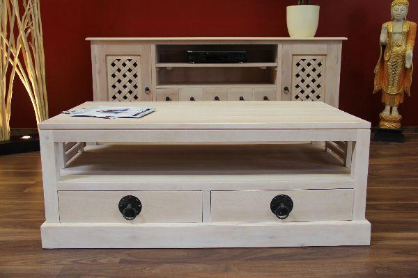 couchtisch holz massiv 116x67x46 schubladen wei beige gek lkt. Black Bedroom Furniture Sets. Home Design Ideas