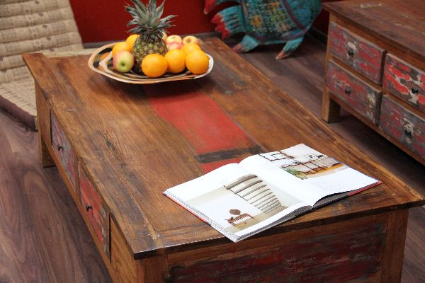 Couchtisch Holz Massiv Schubladen Shabby Chic Bunt 150x80x45