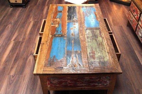 Couchtisch, Holz, Massiv, Schubladen, Shabby Chic, Bunt, 150x80x45