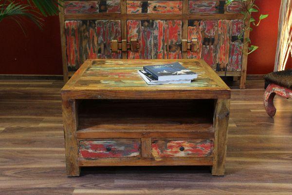 couchtisch massiv holz 80x80x45 quadratisch schubladen farbig. Black Bedroom Furniture Sets. Home Design Ideas