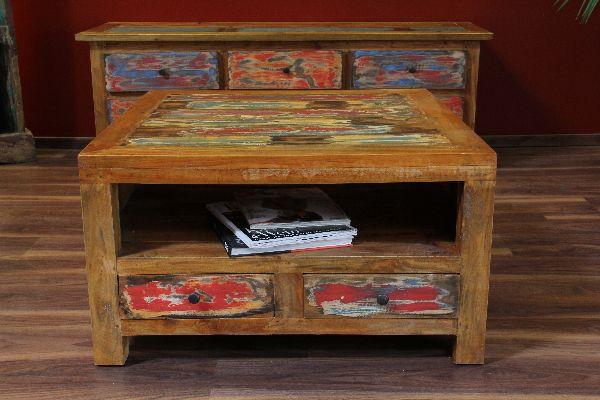 Couchtisch Holz Massiv 80x80x45 Quadratisch Schubladen Farbig