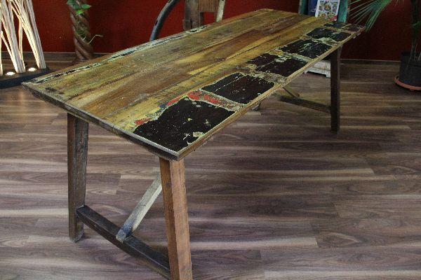 Esstisch, Küchentisch, Massiv, Holz, Recycelt, Mehrfarbig,188x78x75