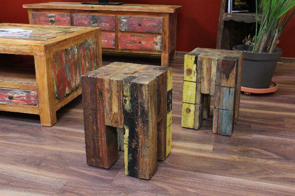 hocker beistelltisch sitzhocker tisch massiv holz teak recycelt. Black Bedroom Furniture Sets. Home Design Ideas