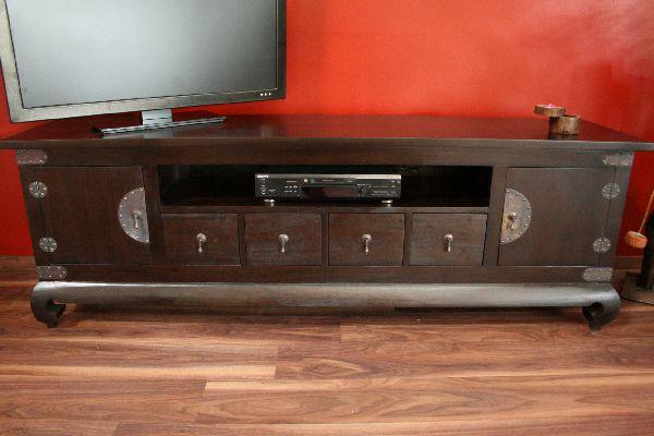 sideboard tv hifi schrank rack holz massiv kolonial 192x64x44. Black Bedroom Furniture Sets. Home Design Ideas