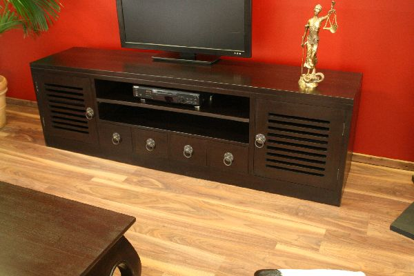 sideboard tv hifi schrank rack holz massiv kolonial 201x60x45. Black Bedroom Furniture Sets. Home Design Ideas