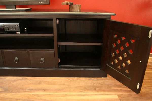 sideboard tv hifi schrank rack holz massiv kolonial 201x60x46. Black Bedroom Furniture Sets. Home Design Ideas