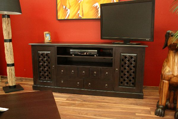 sideboard tv hifi schrank rack holz massiv kolonial. Black Bedroom Furniture Sets. Home Design Ideas