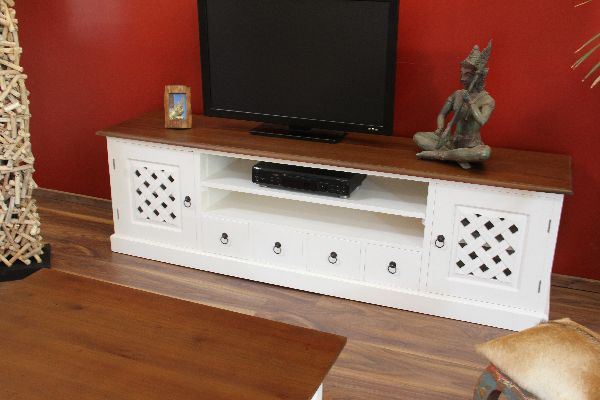 sideboard tv hifi lowboard unterschrank wei holz. Black Bedroom Furniture Sets. Home Design Ideas