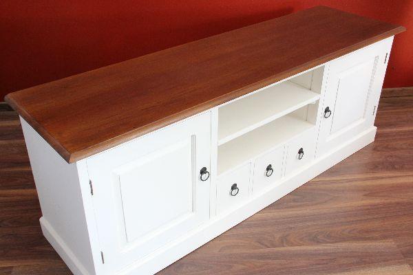 sideboard tv hifi cd schrank holz massiv wei. Black Bedroom Furniture Sets. Home Design Ideas