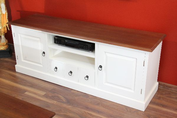 sideboard tv hifi cd schrank holz massiv wei braun landhaus. Black Bedroom Furniture Sets. Home Design Ideas