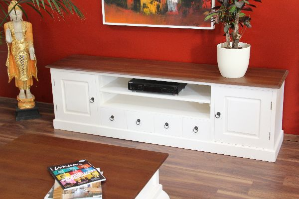 sideboard tv hifi schrank holz massiv wei braun landhausstil. Black Bedroom Furniture Sets. Home Design Ideas