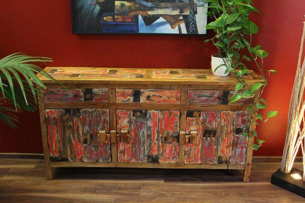 sideboard schrank anrichte buffet massiv holz recycelt farbig. Black Bedroom Furniture Sets. Home Design Ideas