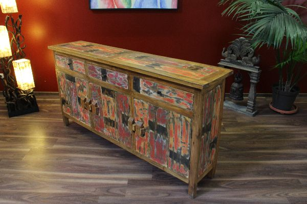 schrank sideboard anrichte holz massiv teak recycelt farbig. Black Bedroom Furniture Sets. Home Design Ideas