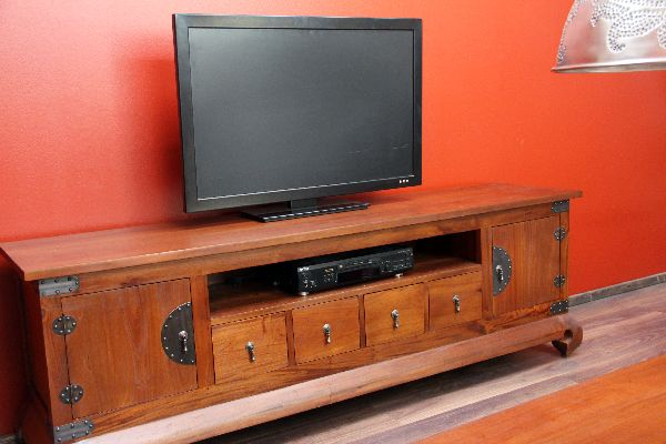 Sideboard tv hifi schrank rack holz bronze kolonial for Tv schrank kolonial